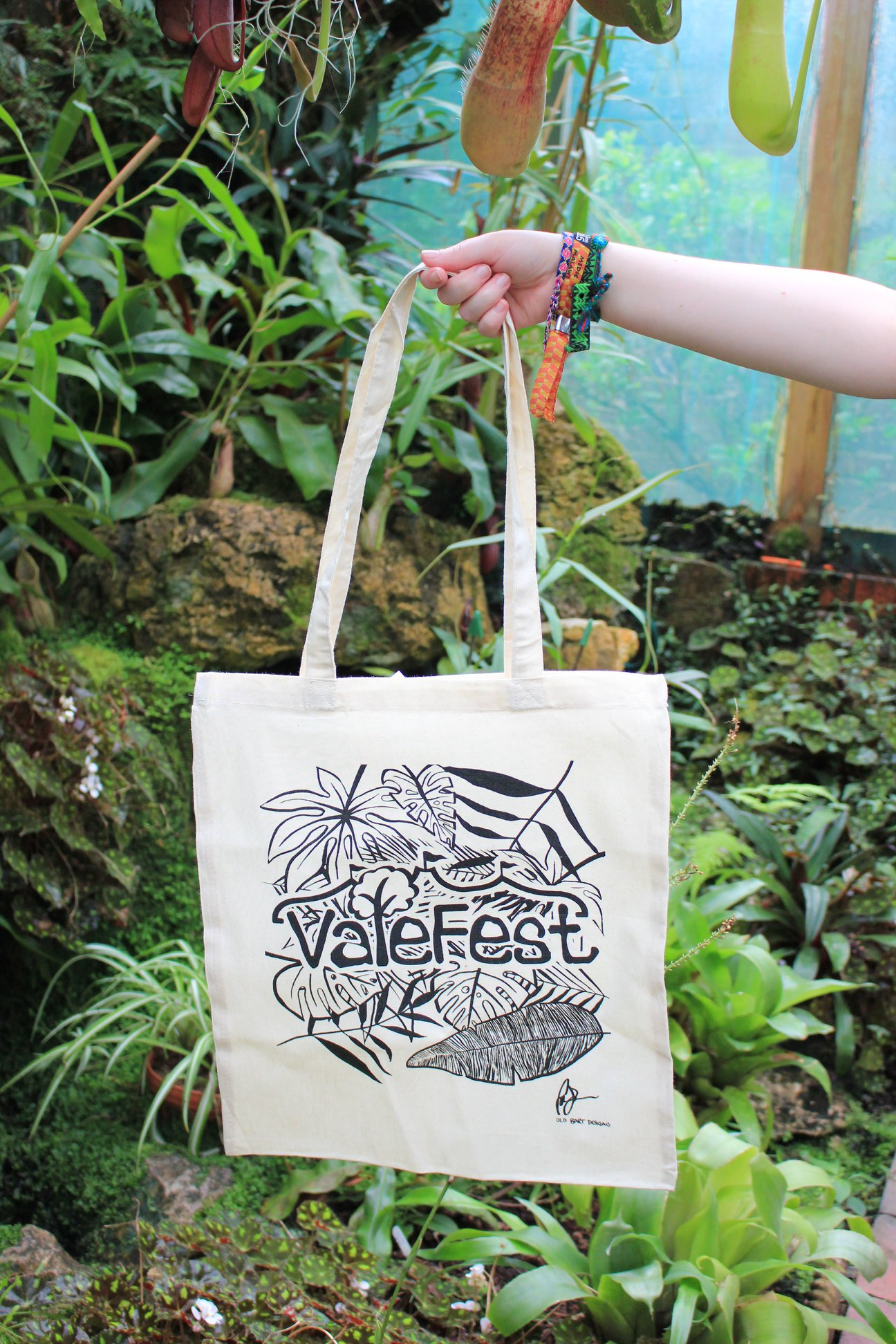 Beige Tote Bag with ValeFest Logo and Leafy Design