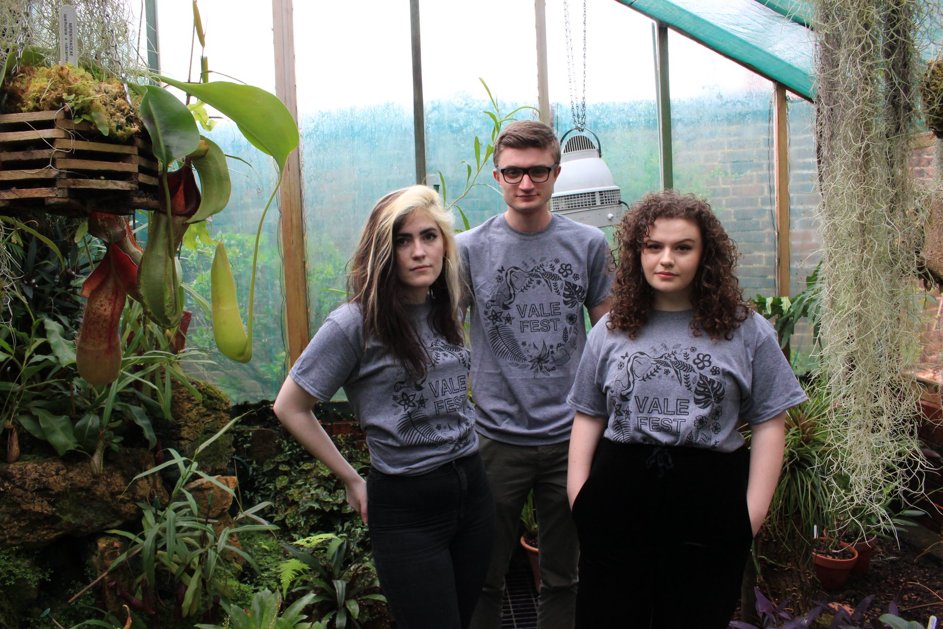 Heather Grey ValeFest T-shirt with Jungle Leaves and Snake Design